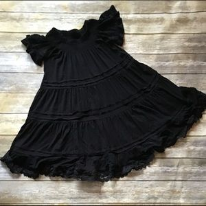 Casual black rayon ruffled dress. Philosophy M